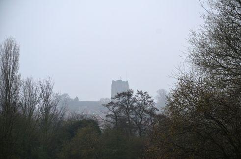 Saint Anne's Church tower through the mist